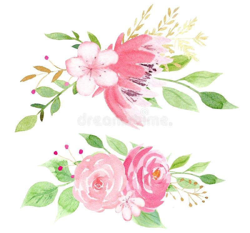 Roze bloesem met de illustratie van de bladerenrooster stock illustratie