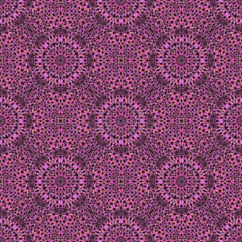 Roze Boheemse abstracte oosterse het patroonachtergrond van de gemsteen royalty-vrije illustratie