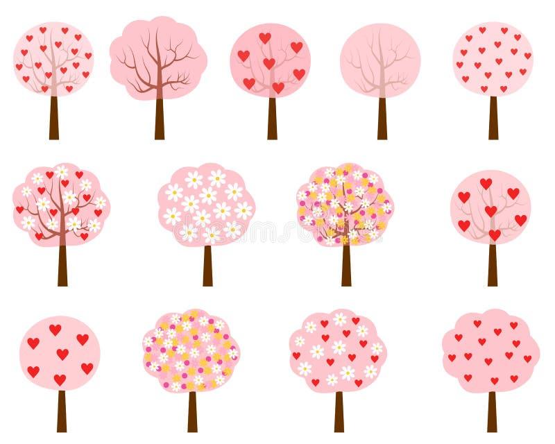 Roze bomen met harten en bloemen royalty-vrije illustratie