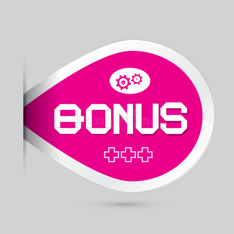 Roze Bonus Vectoretiket stock illustratie