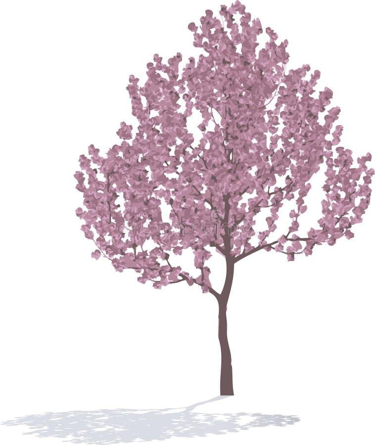 Roze Boom in de lente. stock illustratie