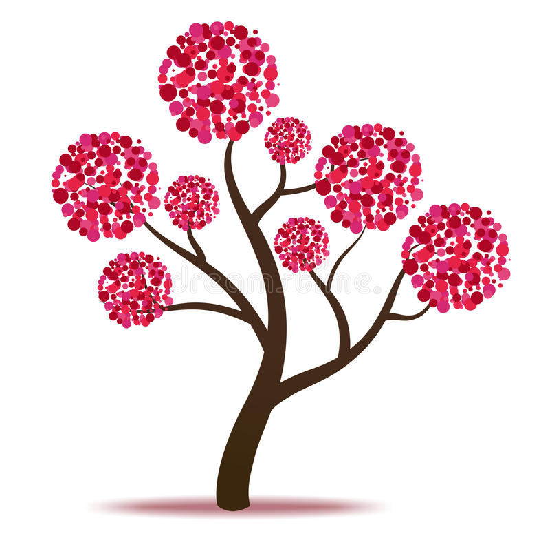 Roze boom - vector vector illustratie