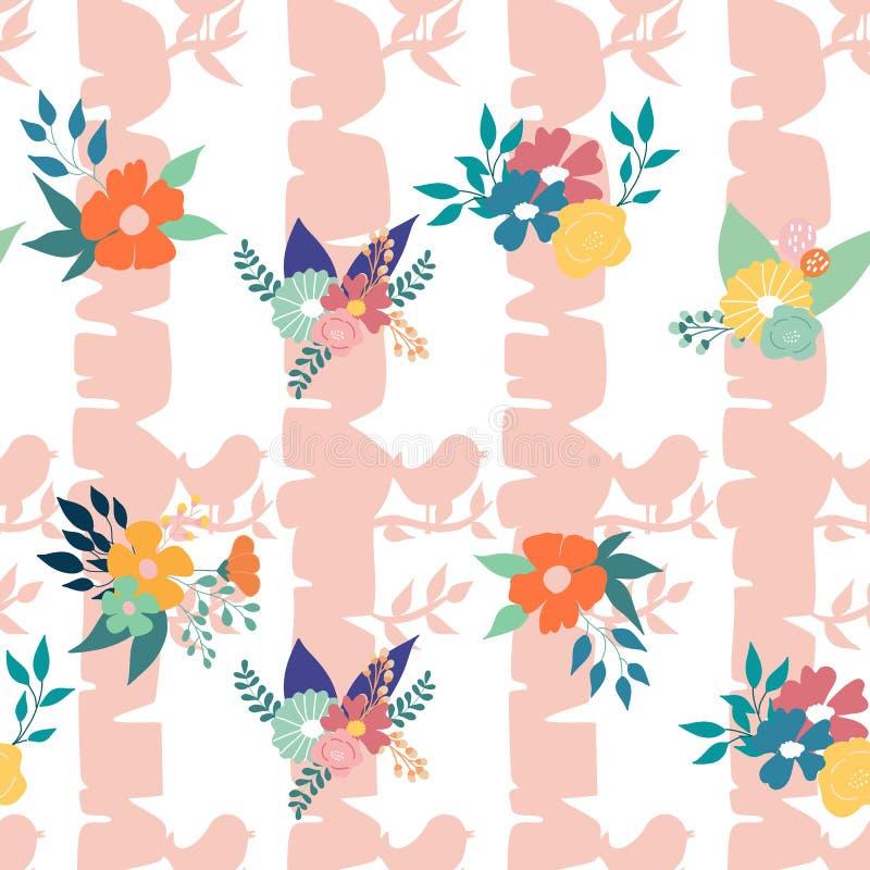 Roze boom, vogels en bloemsamenstelling, in een naadloos patroonontwerp vector illustratie