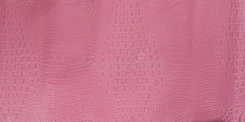 Roze Bruine In reliëf gemaakte Gator-Leertextuur stock afbeeldingen