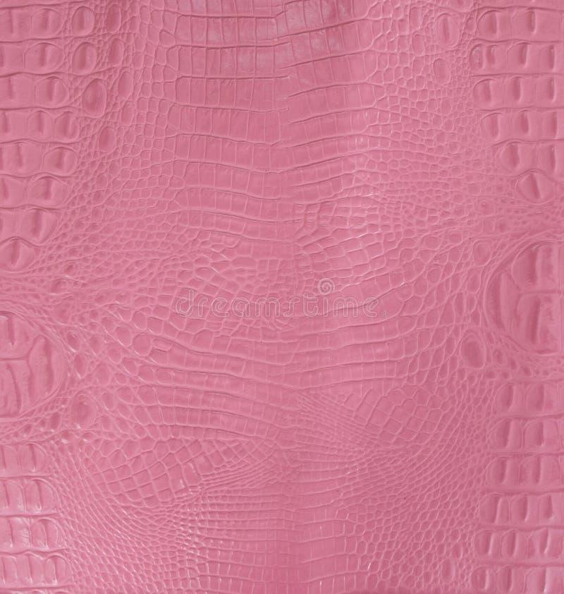 Roze Bruine In reliëf gemaakte Gator-Leertextuur stock afbeelding
