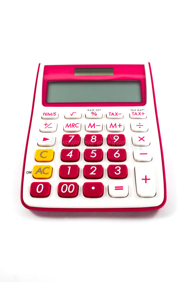 Roze calculator stock foto's
