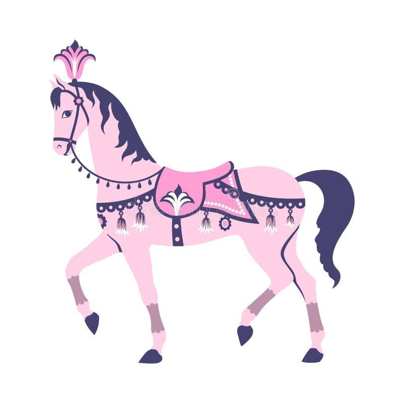 Roze carrouselpaard vector illustratie