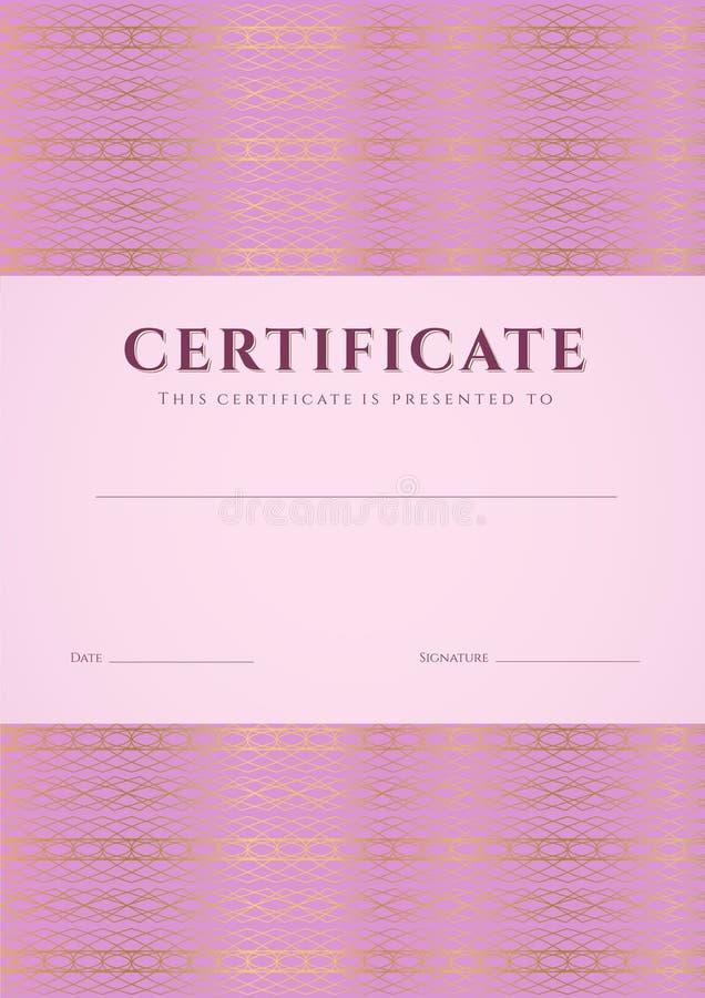 Roze Certificaat, Diplomamalplaatje. Patroon vector illustratie