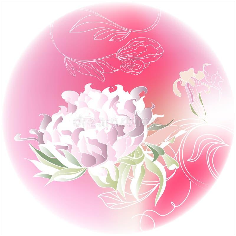 Roze cirkel met bloemen royalty-vrije illustratie