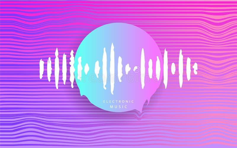 Roze Cirkel met muziekgolf Futuristische Abstracte meetkunde cyberpunk Elektronische muziek Diep Huis De jaren '80 van de Synthwa vector illustratie