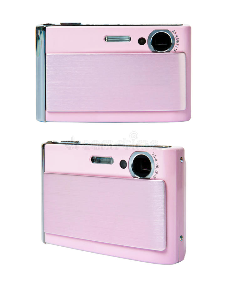 Roze compacte geïsoleerdei camera royalty-vrije stock foto's
