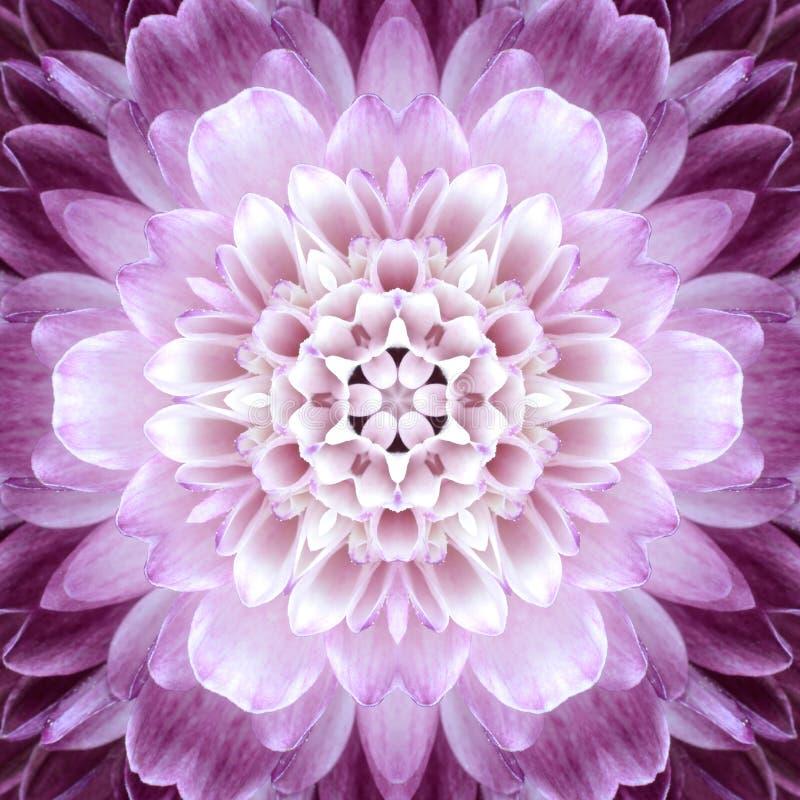Roze Concentrisch Bloemcentrum. Mandala Kaleidoscopic-ontwerp royalty-vrije stock foto