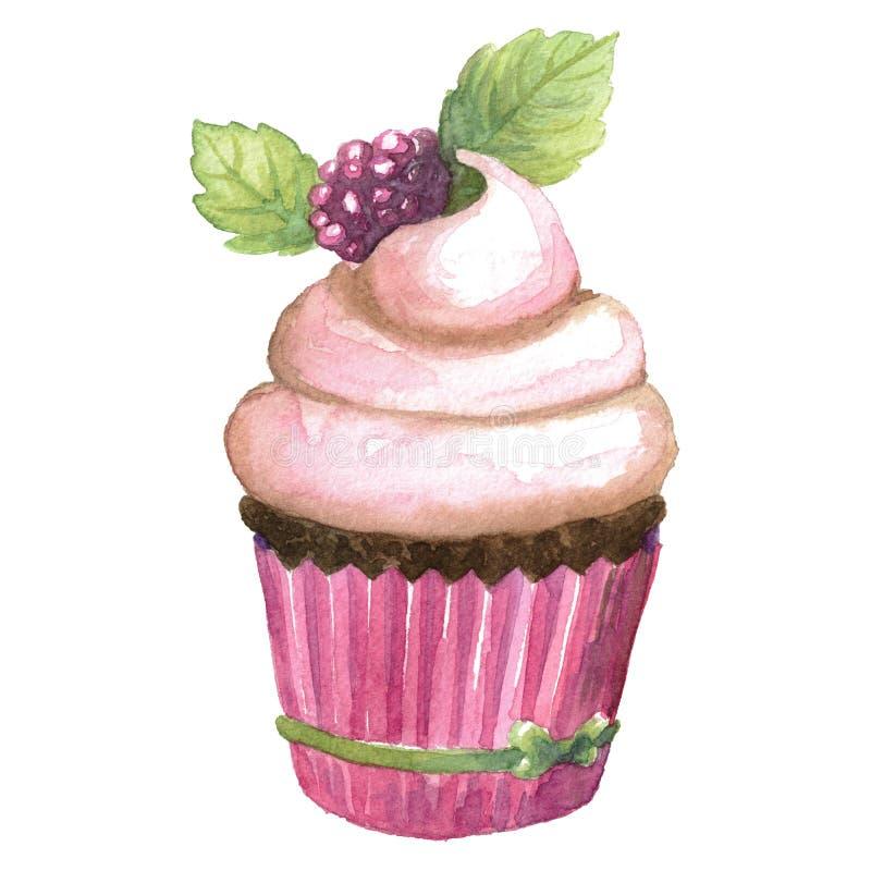 Roze Cupcake-de waterverfillustratie van de Chocoladewoestijn royalty-vrije stock afbeeldingen
