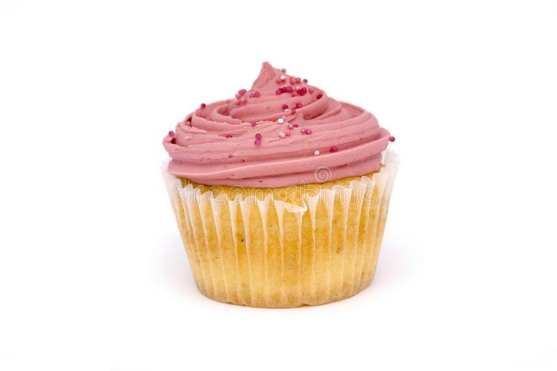 Roze cupcake over wit stock foto