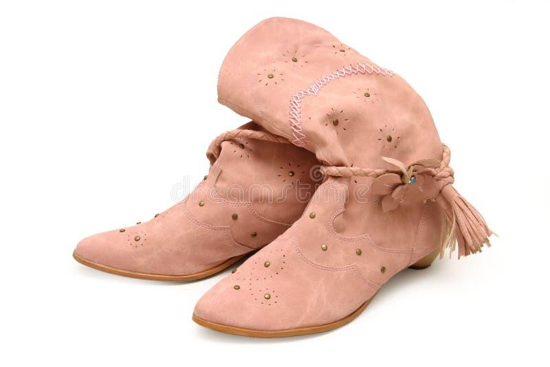 Roze dames? laarzen stock afbeeldingen