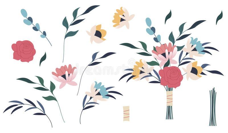 Roze de bloem nam, groene bladeren toe Bundel van boeketten Reeks decoratieve bloemenontwerpelementen Vlakke beeldverhaal vectori stock fotografie