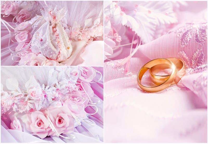 Roze de bloemencollage van het huwelijk royalty-vrije stock fotografie