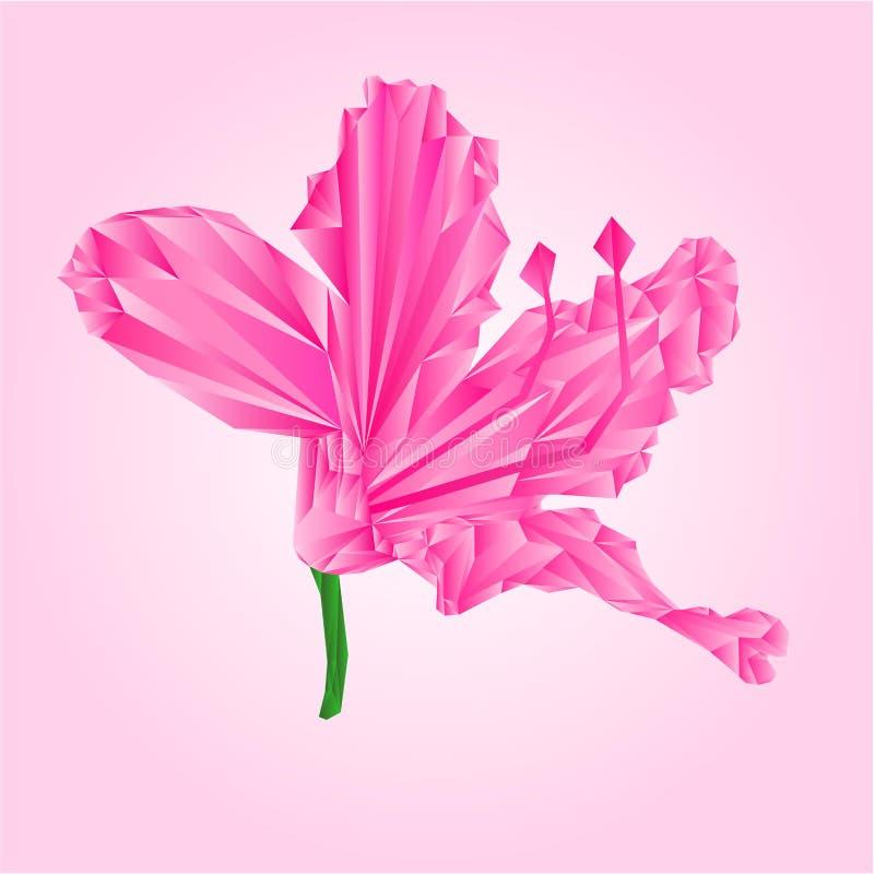 Roze de bloemvector van rododendronveelhoeken vector illustratie