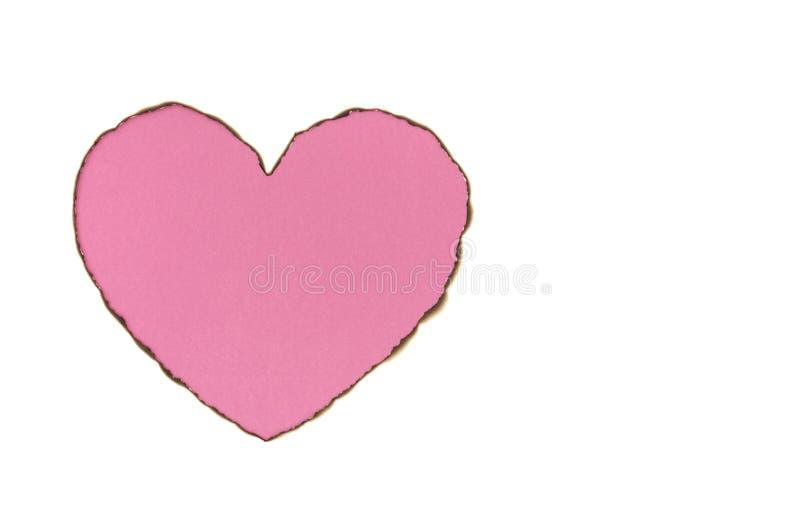 Roze de liefdevorm van het kleurenhart met gebrand Witboek stock afbeelding