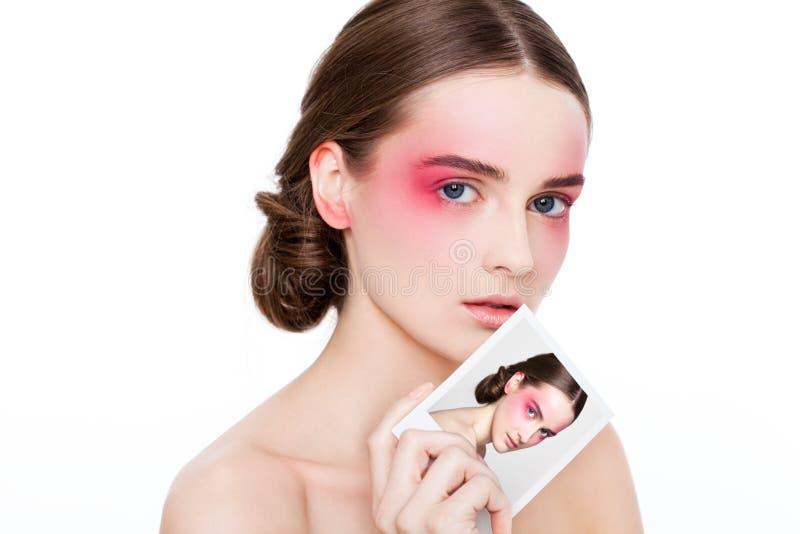 Roze de ogen en de lippenmannequin van de schoonheidsmake-up royalty-vrije stock afbeelding