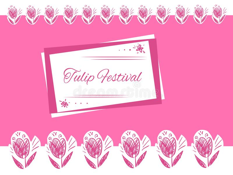 Roze de Tulpenfestival van de groetkaart vector illustratie