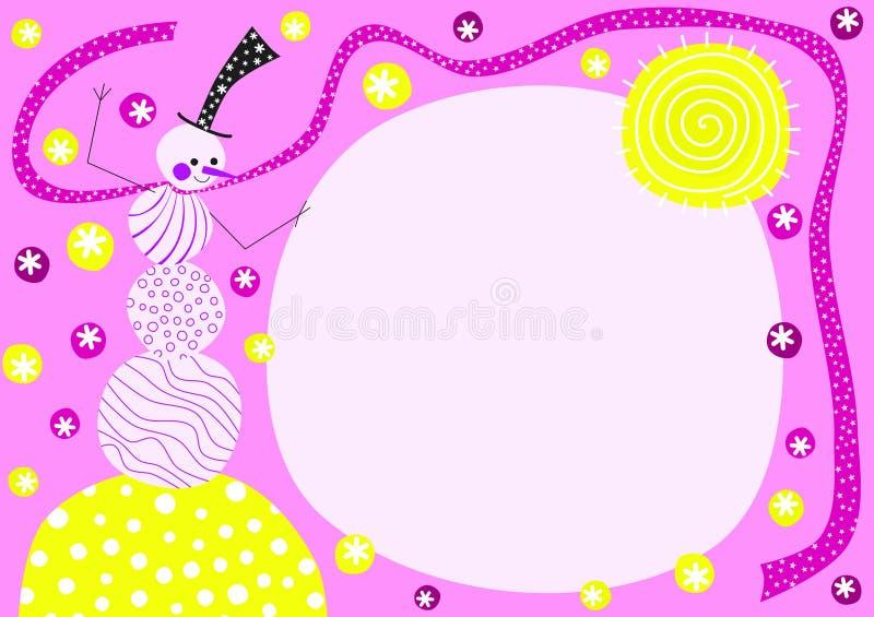 Roze de Uitnodigingskaart van het sneeuwmanmeisje vector illustratie