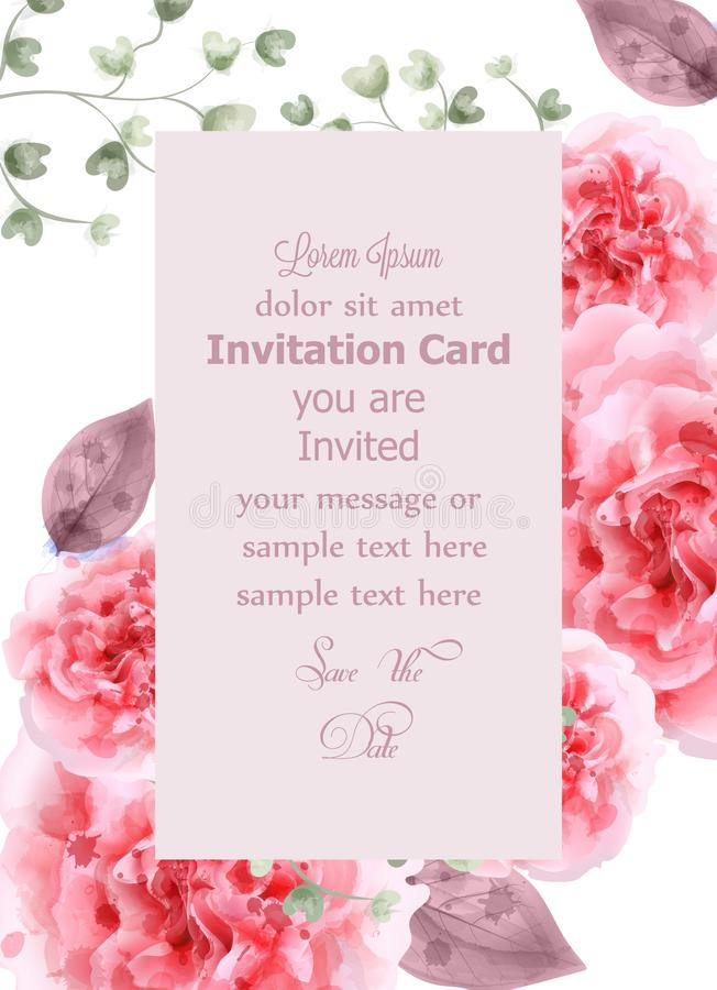 Roze de waterverfvector van de rozenkaart Verticale Uitnodigingskaart, huwelijksceremonie, gevoelige prentbriefkaar, de groet van royalty-vrije illustratie