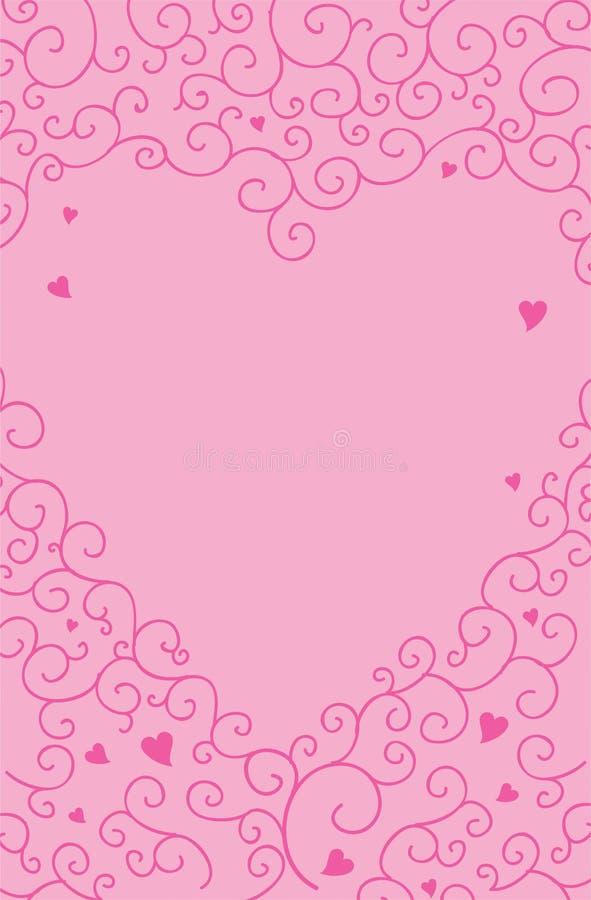 Roze de wervelingsachtergrond van de hartliefde vector illustratie