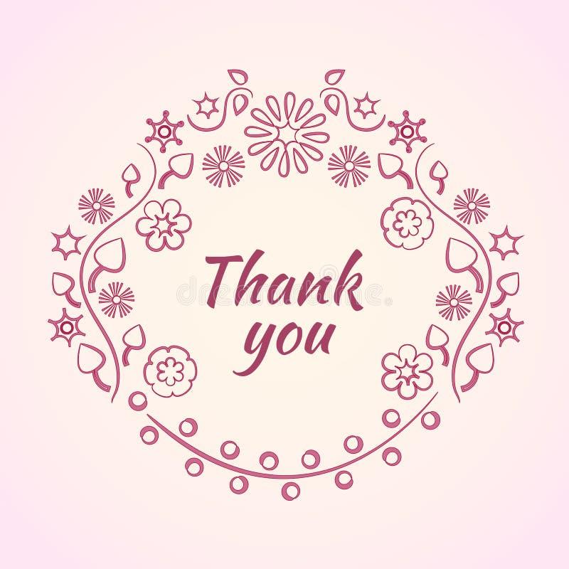 Roze decoratief bloemkader voor tekst Dank u uitdrukken Vector illustratie stock illustratie