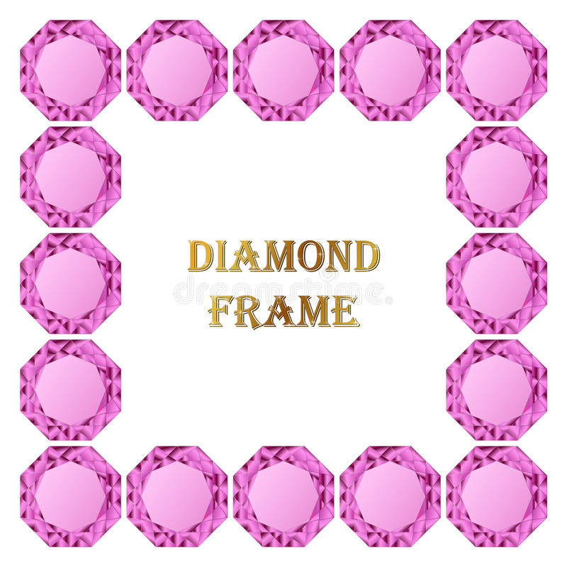 Roze diamant vierkant kader stock illustratie