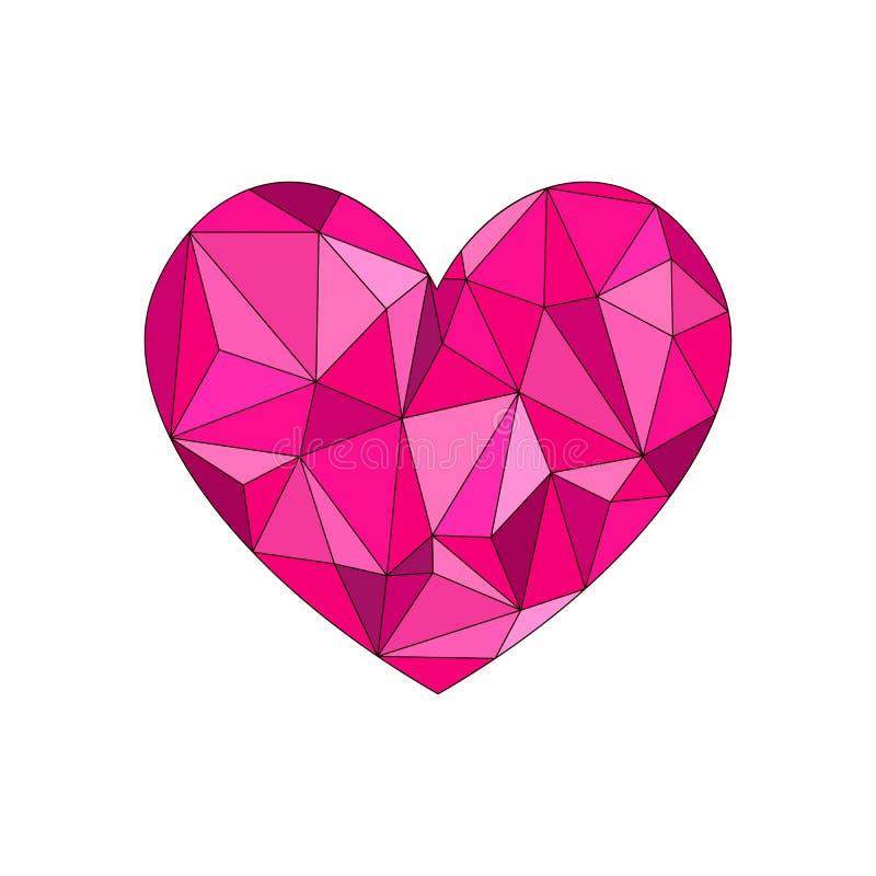 Roze diamanthart De vorm van het diamanthart, vectorformaat voor valentijnskaart vector illustratie