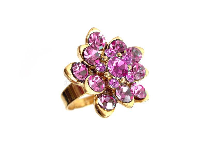 Roze diamantring royalty-vrije stock foto's