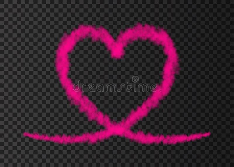 Roze die het hartsleep van het rookvliegtuig op transparante achtergrond wordt geïsoleerd vector illustratie