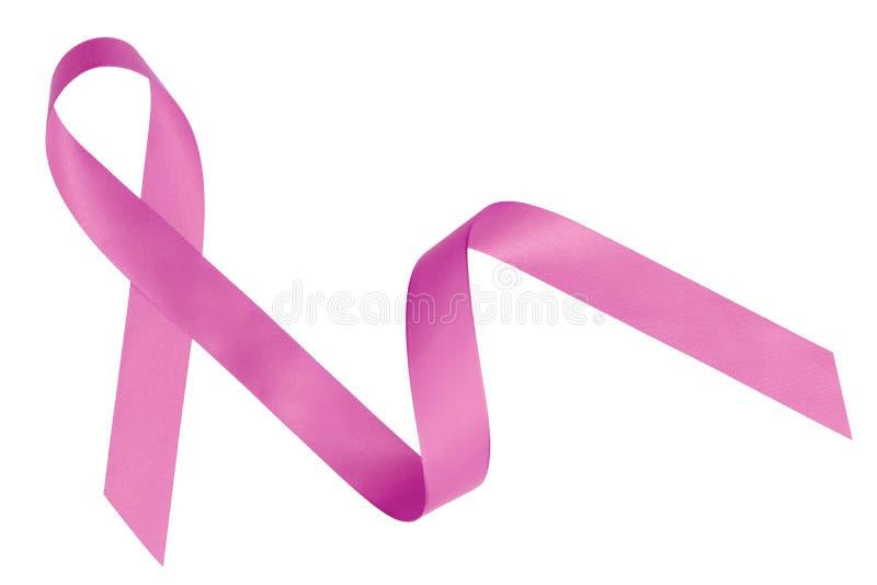 Roze die lintvoorlichting op wit wordt geïsoleerd stock fotografie