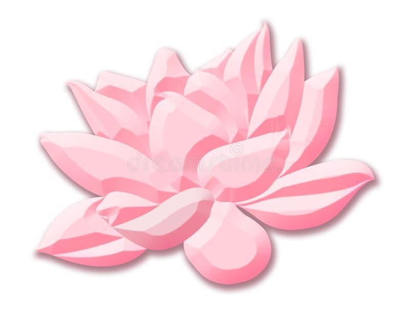 Roze die lotusbloembloem in beeldverhaalstijl op witte achtergrond wordt geïsoleerd royalty-vrije illustratie