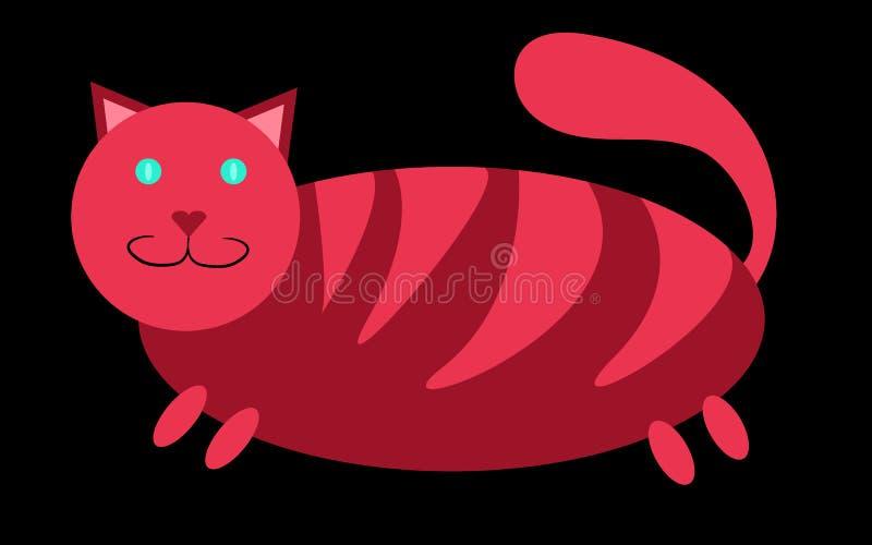 Roze dikke, gestreepte katkat met korte poten en een grote snuit met oren die omhoog op een zwarte achtergrond plakken stock illustratie