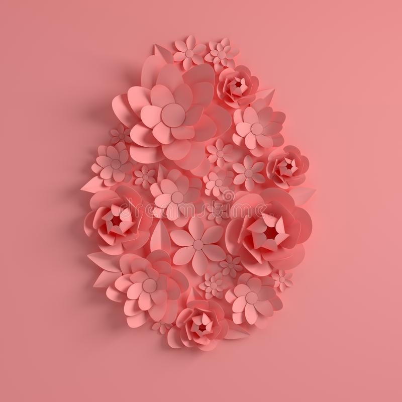 Roze document bloemen, paaseivorm Het gelukkige Pasen-malplaatje van de groetkaart 3d geef in pastelkleuren, moderne document kun vector illustratie