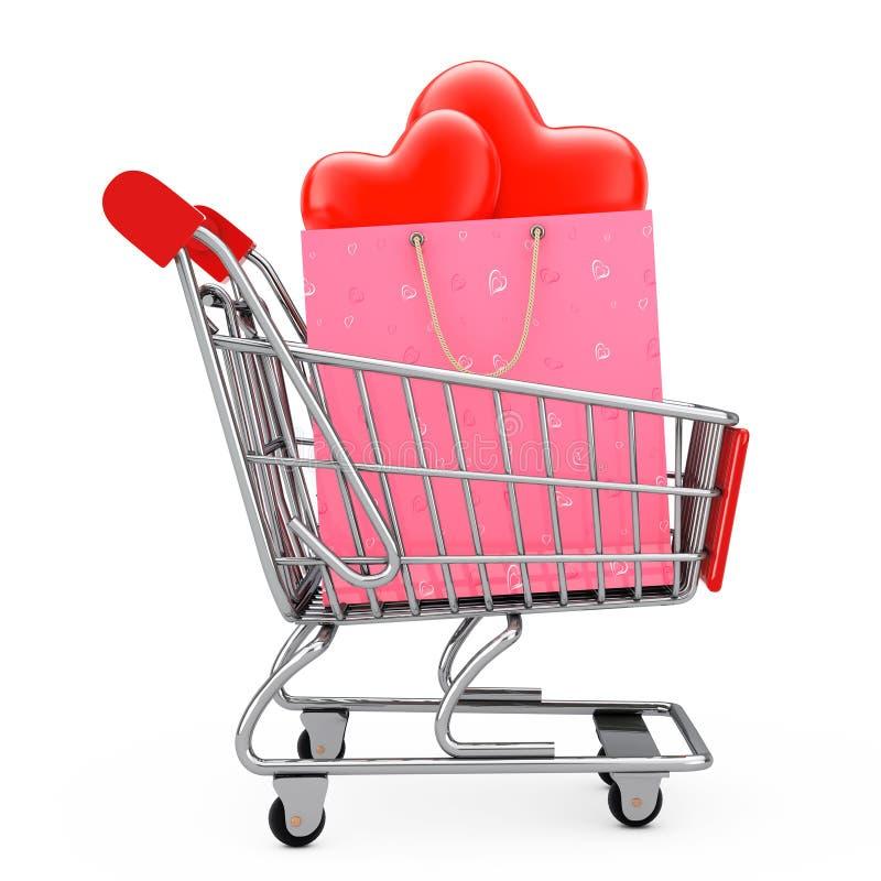 Roze Document het Winkelen Zak met Rode Harten in Boodschappenwagentje 3d ren stock illustratie