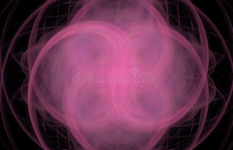 Roze dwarswervelings abstracte fractal op zwarte achtergrond Fantasiefractal textuur Digitaal art het 3d teruggeven Geproduceerde stock illustratie