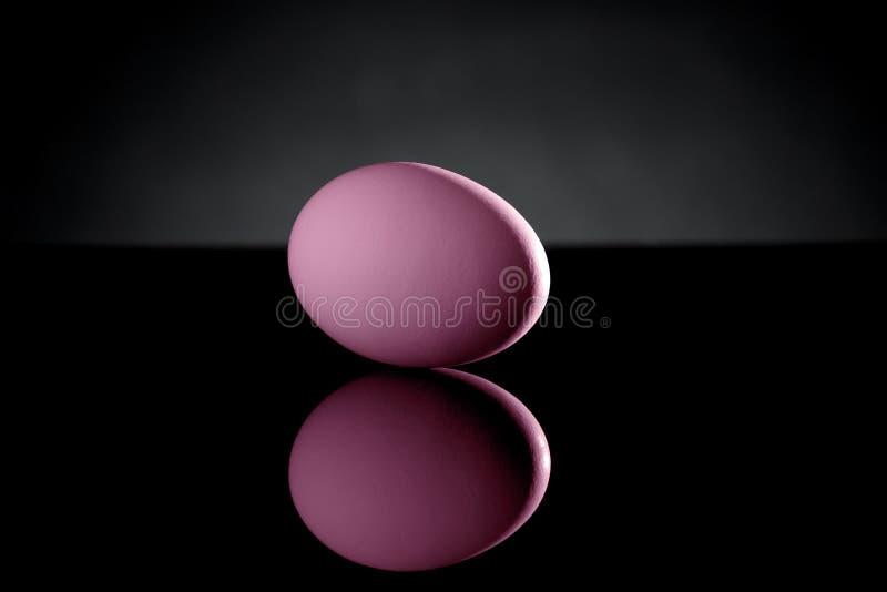Roze Ei op Zwarte Acryl met Bezinning royalty-vrije stock foto