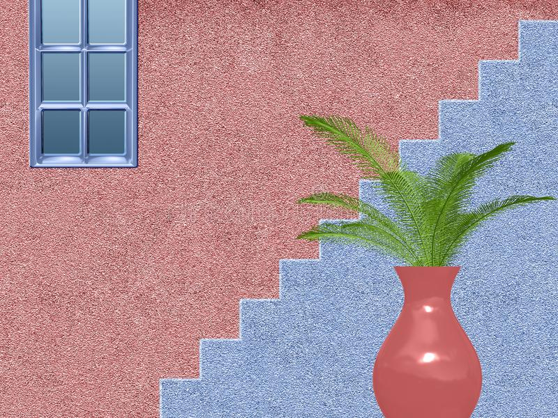 Roze en blauw huis met treden vector illustratie