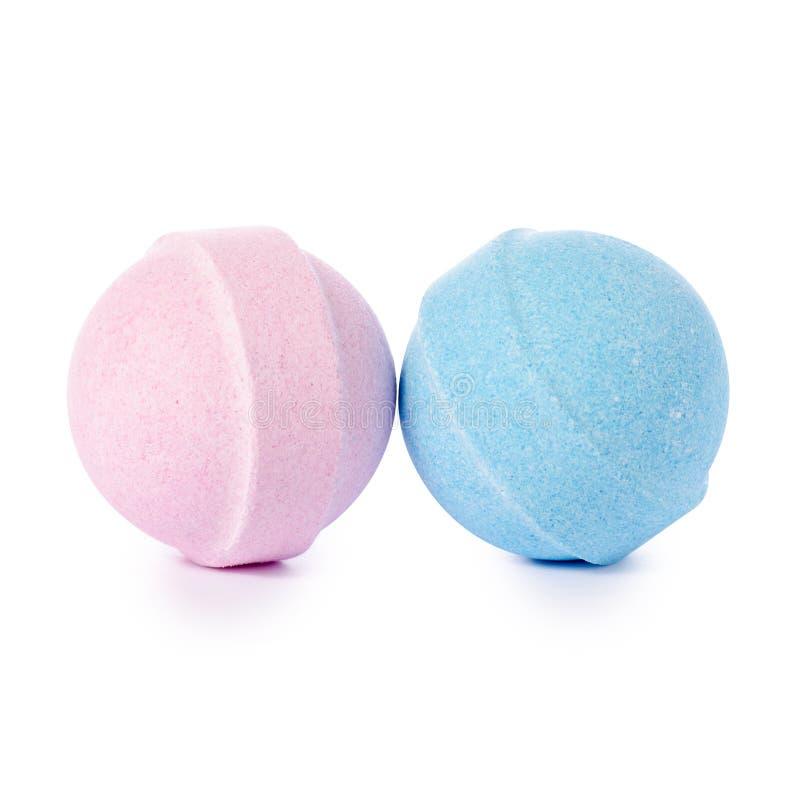 Roze en blauwe bom voor bad royalty-vrije stock afbeeldingen