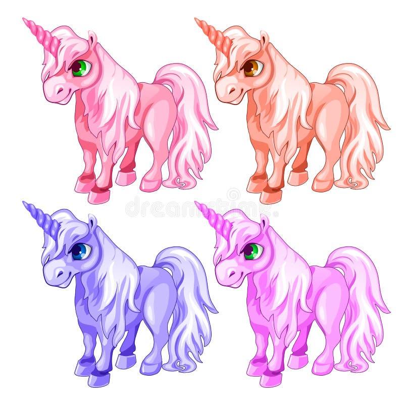 Roze en blauwe eenhoorns in beeldverhaalstijl stock illustratie