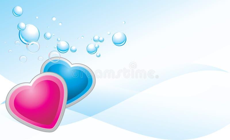 Roze en blauwe harten op de abstracte achtergrond stock illustratie