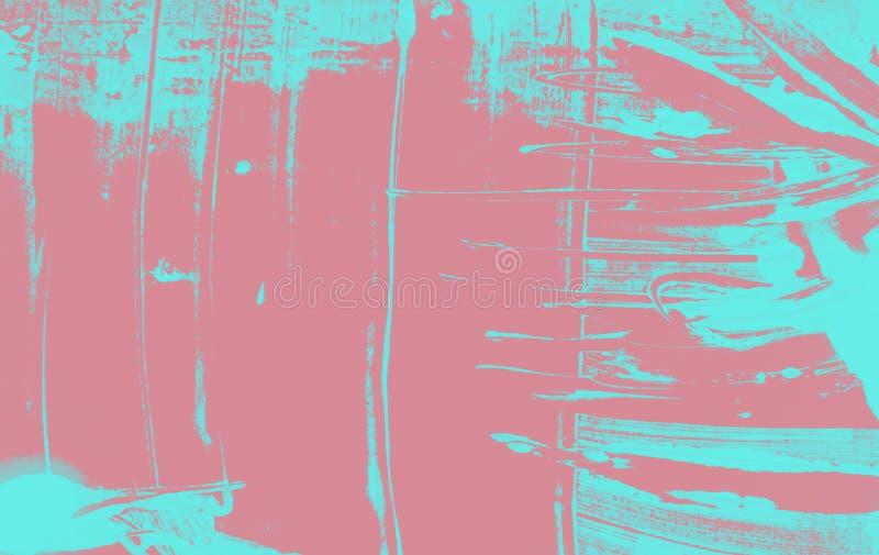 Roze en blauwe van de verfmanier textuur als achtergrond met grungekwaststreken stock illustratie