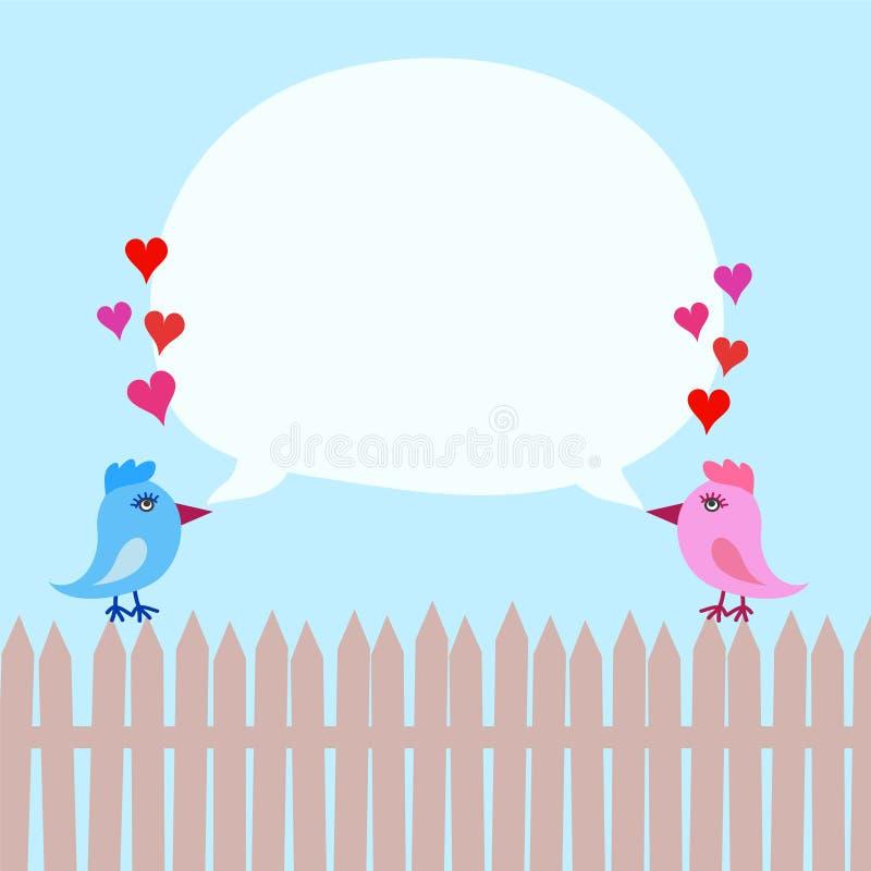 Roze en Blauwe Vogels op Omheining met Harten en Toespraakbel ober vector illustratie
