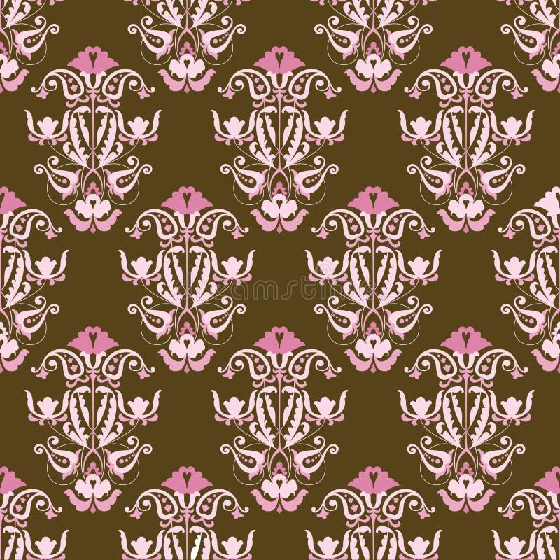 Roze en bruin naadloos vectorbehang stock illustratie