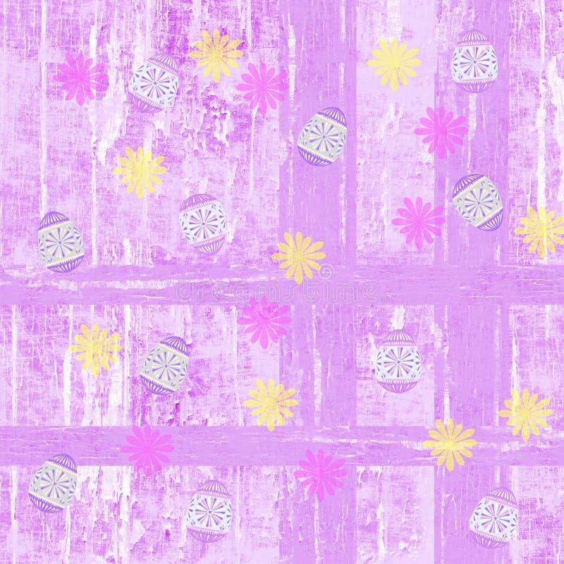 Roze en gele verfraaide paaseieren en bloemen nostalgische de lenteachtergrond stock illustratie