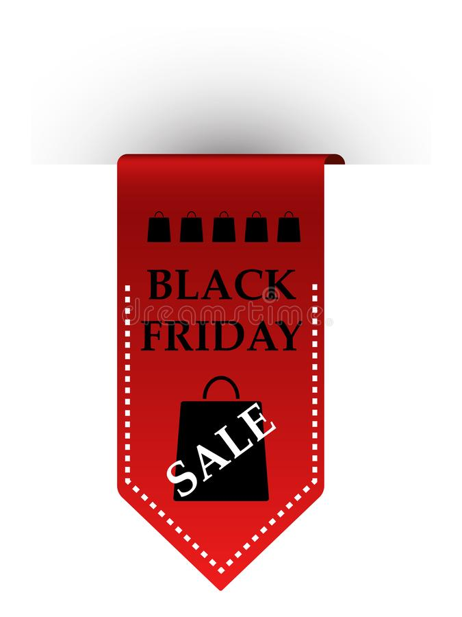 Roze en gele verkoop Rood die lint met inschrijving Black Friday op witte achtergrond wordt geïsoleerd Vector illustratie royalty-vrije illustratie