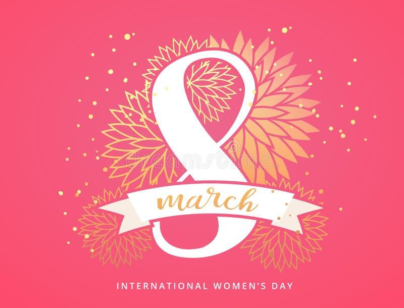 Roze en gouden bloemenornamentachtergrond voor 8 Maart, de Dag van Internationale Vrouwen, Verjaardag, Valentijnskaartendag of Mo royalty-vrije illustratie